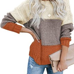 CANIKAT Women's Crewneck Color Block Striped Sweater Long Sleeve Loose Knit Pullover Jumper Tops   Amazon (US)