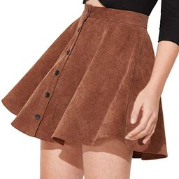 SheIn Women's Button Up Flare A-Line Corduroy Skater Cord Short Skirt | Amazon (US)