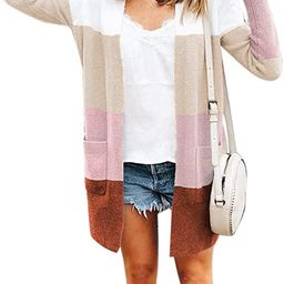 Womens Long Sleeve Casual Striped Cardigan Color Block Knit Open Front Sweater Coat | Amazon (US)