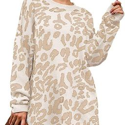 NSQTBA Womens Leopard Print Pullover Oversized Crew Neck Casual Knitted Sweater Tops S-2XL | Amazon (US)