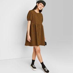 Women's Puff Short Sleeve Seersucker Dress - Wild Fable Dark Gold Plaid L | Target