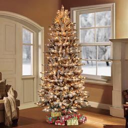 Pre-Lit Flocked Slim Fraser Fir Artificial Christmas Tree   Wayfair North America