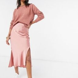 ASOS DESIGN jumper and satin skirt co-ord in pink | ASOS (Global)