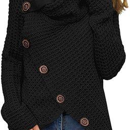 GRECERELLE Women's Casual Turtle Cowl Neck Asymmetric Hem Wrap Pullover Chunky Button Knit Sweate... | Amazon (US)