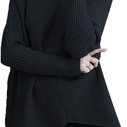 ANRABESS Womens Turtleneck Long Batwing Sleeve Asymmetric Hem Casual Pullover Sweater Knit Tops | Amazon (US)