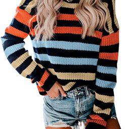 KIRUNDO Women's Stripe Color Block Short Sweater Long Sleeves Stitching Color Round Neck Loose ... | Amazon (US)