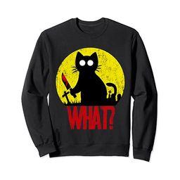 Halloween Moon Murderous Black Psycho Cat What With Knife Sweatshirt   Amazon (US)