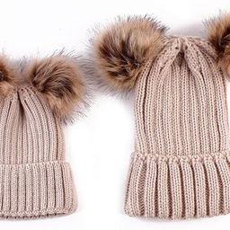 oenbopo 2PCS Parent-Child Hat Winter Warmer, Baby Hat/Women Hat, Mother & Baby Knit Hat Beanie Wi... | Amazon (US)