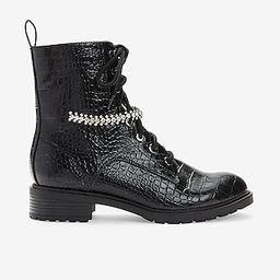 Gemstone Strap Croc-Embossed Combat Boots | Express