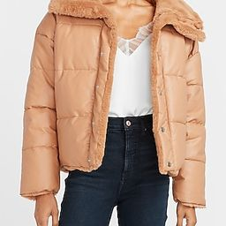 Reversible Vegan Leather & Faux Fur Puffer Coat | Express