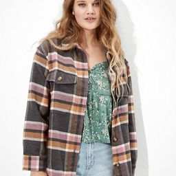 AE Oversized Flannel Button Up Shirt Jacket | American Eagle Outfitters (US & CA)