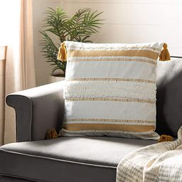 Safavieh Polli 20-inch Mustard Yellow and Beige Tassel Decorative Throw Pillow | Amazon (US)