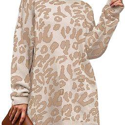PRETTYGARDEN Women's Casual Leopard Print Long Sleeve Crew Neck Oversized Pullover Knit Sweater... | Amazon (US)