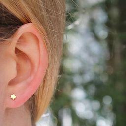 Tiny Star Studs // Gold Silver Moon Celestial Earrings // Minimal Small Earrings // Everyday Earr...   Etsy (US)