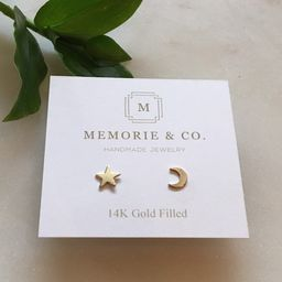 14k Gold Filled Star and Moon Stud Earrings   Minimalist Earrings   Dainty Earrings   Dainty Gold...   Etsy (US)