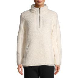 Time and Tru Women's Quarter Zip Faux Sherpa Pullover   Walmart (US)