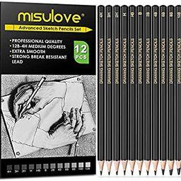 MISULOVE Professional Drawing Sketching Pencil Set - 12 Pieces Art Drawing Graphite Pencils(12B -... | Amazon (US)