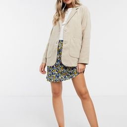 Monki Winnie pocket front blazer jacket in beige   ASOS (Global)