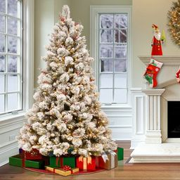 Snowy 7.5' Frosted Green Pine Artificial Christmas Tree with 700 Clear/White Lights   Wayfair North America