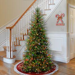 Dunhill Fir Slim Green Christmas Tree with Multi-Color Lights   Wayfair North America