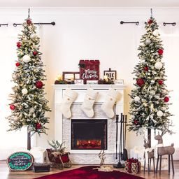 Best Choice Products 6Ft Pre-Lit Snow Flocked Pencil Alpine Christmas Tree Holiday Decoration W/ ...   Wayfair North America