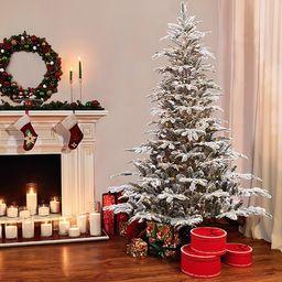 Pre-lit Aspen Flocked 7.5' White/Green Fir Trees Artificial Christmas Tree with 700 Warm White Li...   Wayfair North America