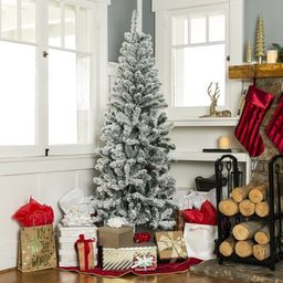 Best Choice Products Snow Flocked Artificial Pencil Christmas Tree Holiday Decoration W/ Metal St...   Wayfair North America