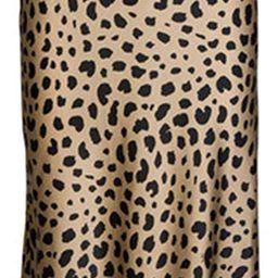 Keasmto Leopard Midi Skirt Plus Size for Women High Waist Silk Satin Elasticized Skirts | Amazon (US)