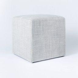 Lynwood Square Upholstered Cube Ticking Stripe Navy - Threshold™ designed with Studio McGee | Target