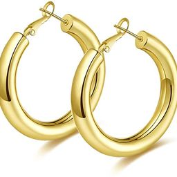 wowshow Thick Hoop Earrings Howllow 14K Gold Plated Gold Hoops for Women | Amazon (US)
