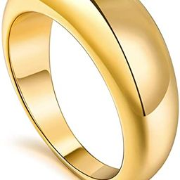micuco Thick Chunky Dome Rings for Women 14K Gold Plated Statement Ring 5-8.5 Size | Amazon (US)