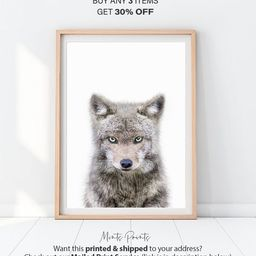 Wolf Print, Woodland Nursery Animal, Wolf Cub Printable, Woodland Baby Room, Baby Animals, Printa... | Etsy (US)