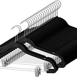 Premium Velvet Skirt Hangers (20 Pack) Non Slip Velvet Pants Hangers with Metal Clips, 360° Hook... | Amazon (US)