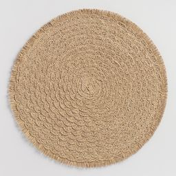 Round Natural Braided Placemats with Fringe Set of 4: Brown by World Market   World Market
