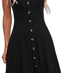 Berydress Women's Casual Beach Summer Dresses Solid Cotton Flattering A-Line Spaghetti Strap Butt... | Amazon (US)