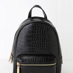 Getting Places Black Crocodile Embossed Mini Backpack | Lulus (US)