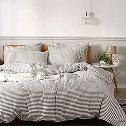 JELLYMONI 100% Natural Cotton 3pcs Striped Duvet Cover Sets,White Duvet Cover with Grey Stripes P...   Amazon (US)