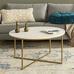 Walker Edison Furniture Company Modern Round Coffee Accent Table Living Room, Marble/Gold   Amazon (US)