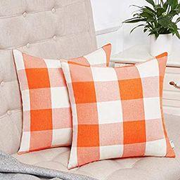 Anickal Set of 2 Fall Orange and White Buffalo Check Plaid Throw Pillow Covers Farmhouse Decorati...   Amazon (US)