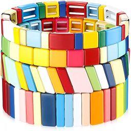 Hicarer 4 Pieces Enamel Tile Bracelet Rainbow Tile Bead Bracelet Stackable Block Bracelet Elastic...   Amazon (US)