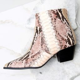 Notice It Now Blush Snake Print Booties | Red Dress