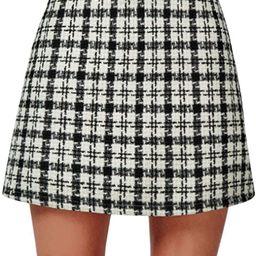 PERSUN Red Short Plaid A-line Mini Skirt | Amazon (US)