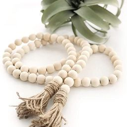 Big 58in Wood Bead Garland with Tassels Farmhouse Beads Rustic Country Decor Prayer Beads Wall Ha... | Amazon (US)