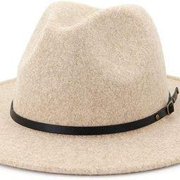 Lisianthus Womens Classic Wool Fedora with Belt Buckle Wide Brim Panama Hat   Amazon (US)
