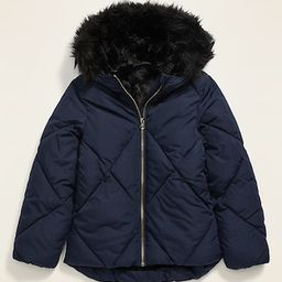 Frost-Free Faux-Fur Lined Hooded Puffer Jacket for Girls | Old Navy (US)