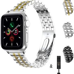 TOWOND for Apple Watch Band 38mm 40mm 42mm 44mm, iWatch Band Women Stainless Steel Bracelet Adjus... | Amazon (US)