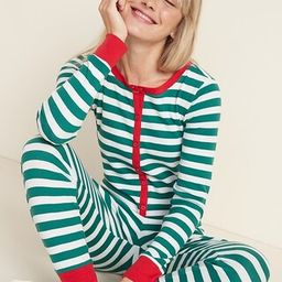 Patterned Waffle-Knit One-Piece Pajamas for Women | Old Navy (US)