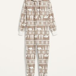 Patterned Micro Performance Fleece Hooded One-Piece Pajamas for Women | Old Navy (US)