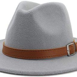 Classic Men & Women Wide Brim Fedora Panama Hat with Belt Buckle   Amazon (US)