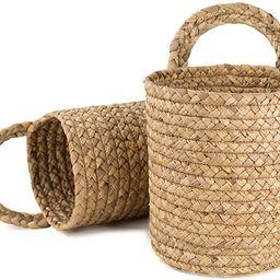 LA JOLIE MUSE Seagrass Woven Storage Baskets Set of 2, Wall Hanging Baskets Organizer, Garden Pla...   Amazon (US)